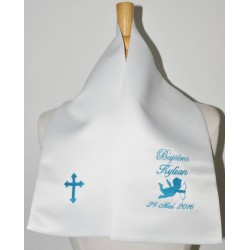 écharpe de baptême bébé ange avec croix personnalisée brodée pour garà§on ou fille