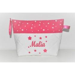 Trousse de toilette enfant ou adulte ou bébé ou ado étoiles rose fuchsia personnalisée brodée