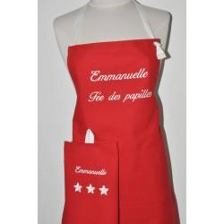 Box cadeau:Tablier de cuisine* homme ou femme personnalisé brodé au prénom avec torchon assorti