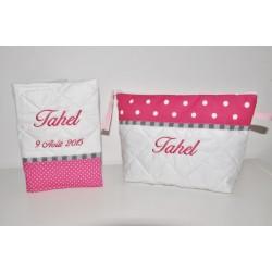 Box cadeau:Trousse de toilette avec protège carnet de santé enfant ou bébé pois rose fushia personnalisée brodée