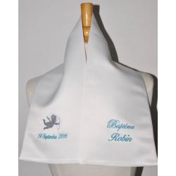 écharpe de baptême bébé ange 2 couleurs 2 cà´tés personnalisée brodée pour garà§on ou fille