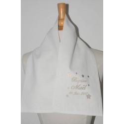 écharpe/étole de baptême en lin bébé/enfant étoiles personnalisée brodée beige garà§on ou fille