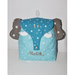 Sac a dos éléphant bleu/taupe enfant personnalisé brodé pour crèche balade école sport danse maternelle