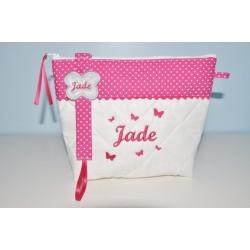 Box cadeau:Trousse de toilette avec attache-tétine/sucette papillon rose enfant ou bébé personnalisée brodée