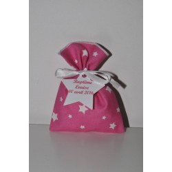 10 pochons ballotins de dragées étoile rose baptême personnalisée étiquette étoile  pour baptême,mariage,communion