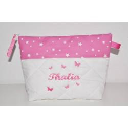 Trousse de toilette rose étoiles enfant ou adulte ou bébé ou ado papillons brodés personnalisée brodée