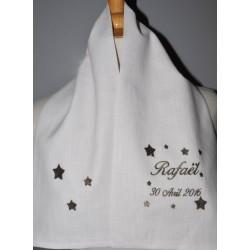 écharpe étole de baptême étoile en lin personnalisée brodée pour garà§on ou fille