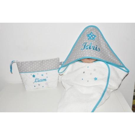 Box cadeau naissance:sortie/cape de bain avec trousse de toilette assortie personnalisées brodées au prénom de bébé coffret